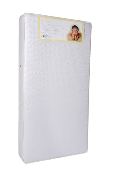 Colgate 2N1 Innerspring Toddler and Crib Mattress with Waterproof Cover, White