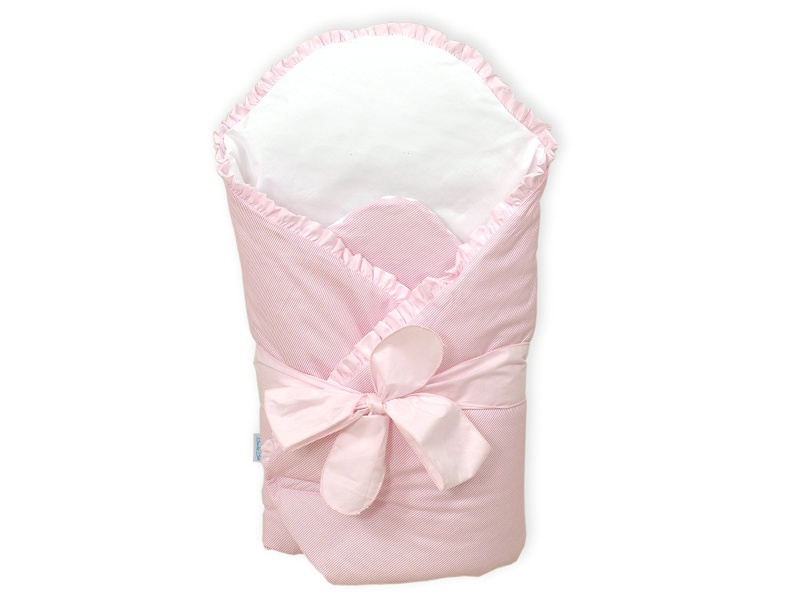BundleBee Baby Wrap, Swaddle and Baby Blanket Kit with Back and Neck Support Insert, Pink Ruffle, 0-4 Months