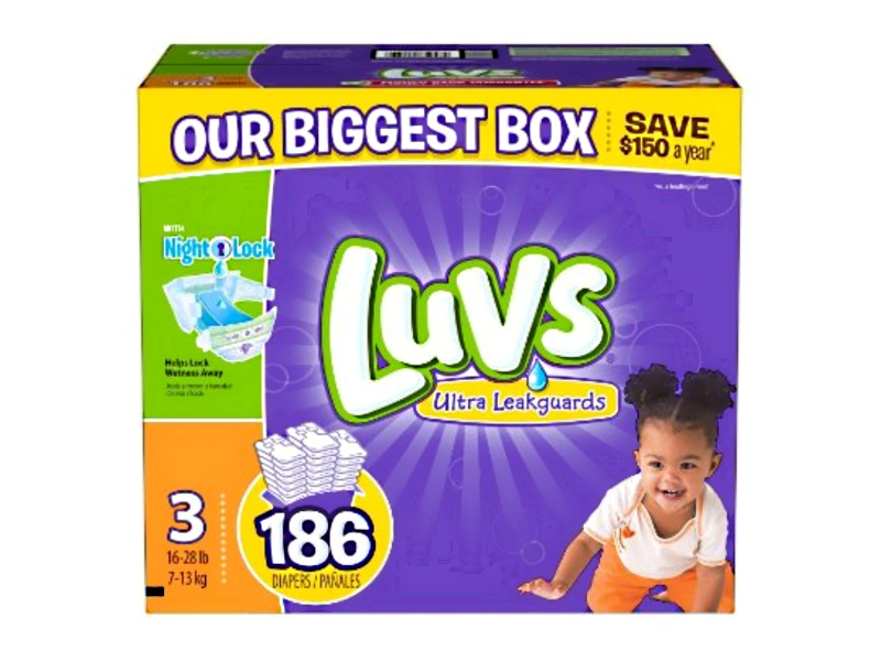 Luvs diapers, size 3, 186-count, best overnight diapers