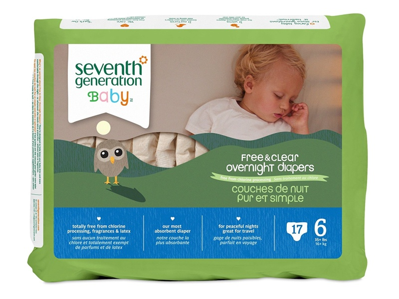 Seventh Generation Baby Free & Clear Overnight Diapers, Stage 6, 17-count (Pack of 4)