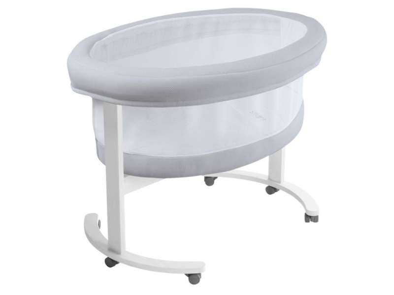 Micuna Smart Fresh Wooden and Fabric Bassinet, White-Grey