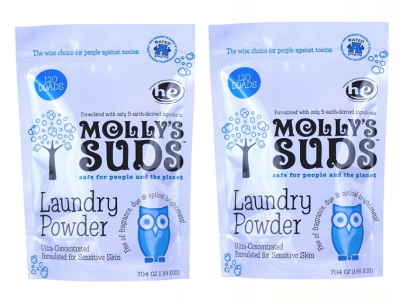 Laundry Detergent Powder with Peppermint Essential Oil by Molly's Suds Featuring 120-Loads-Bag, Concentrated and Safe, Great for Baby's Clothes