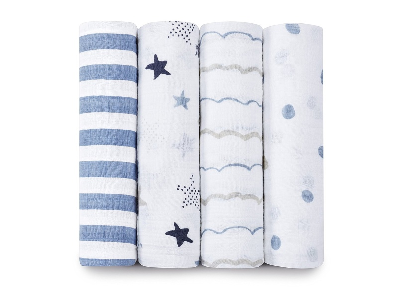 Aden + Anais Classic Muslin Swaddling Blankets, 4-pack - Rock Star - One Size