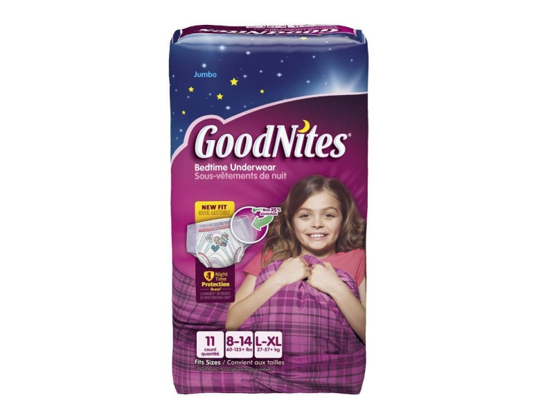 GoodNites Bedtime Pants Jumbo, Girls Large/XL, 60-125 lbs., 41316, best diapers for diaper rash