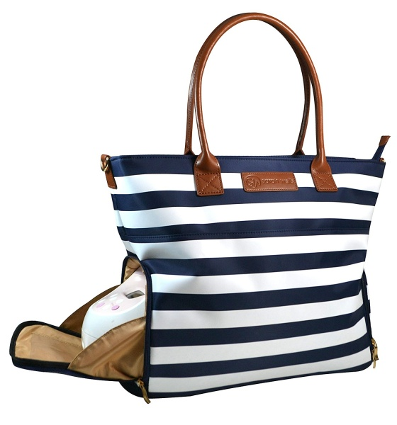 Sarah Wells Abby Breast Pump Bag (Navy Striped)