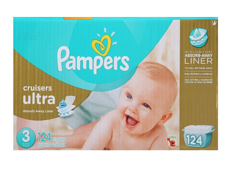 Pampers Cruisers Ultra Diapers, Size 3, Economy Pack 124-count