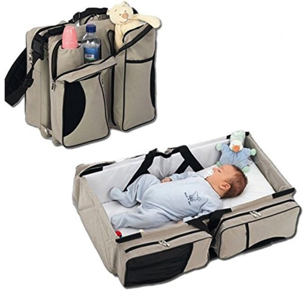 3 in 1 Diaper Bags Portable Crib Changing Station & Travel Bassinet Baby Travel Bed by WXDZ