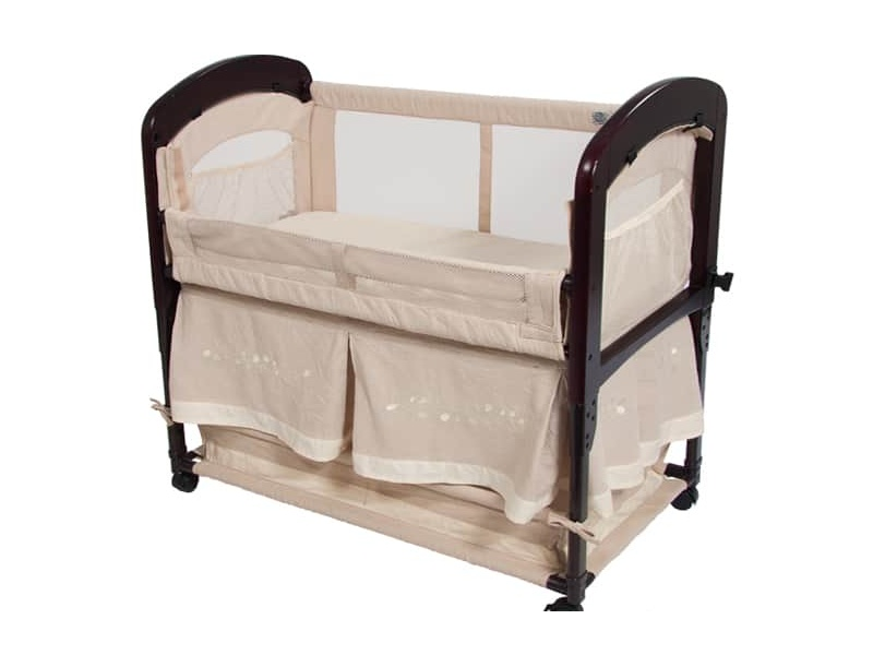 Arm's Reach Cambria Co-Sleeper with Embroidered Skirt (Toffee)