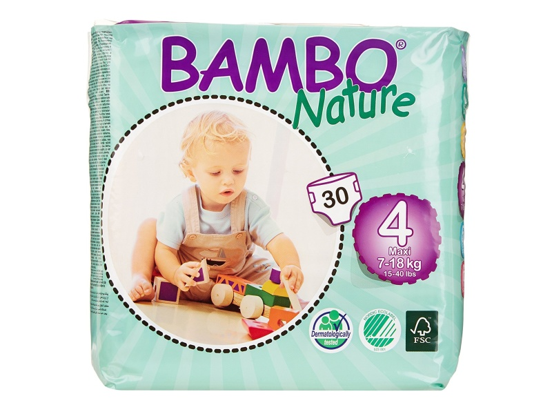 Bambo Nature Maxi Baby Diapers, Size 4, 180-count