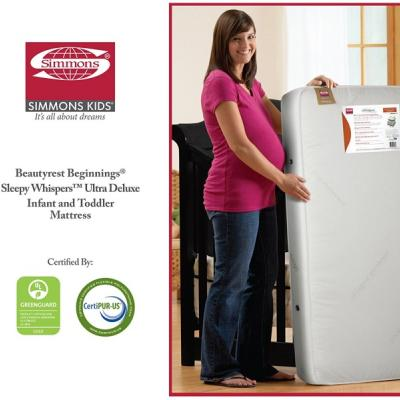 Simmons Kids Beginnings Beautyrest Ultra Deluxe Sleepy Whispers 2n1 Toddler and Crib Mattress
